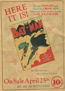Ad for Batman #1 from Detective Comics #39 (1940)
