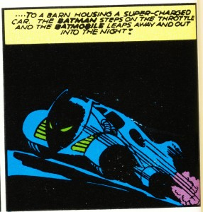 First Batmobile with Fin and Bat-Head (Batman #5 1940)