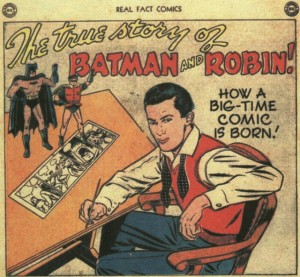 """The True Story of Batman & Robin"" splash panel from Real Fact Comics #5"