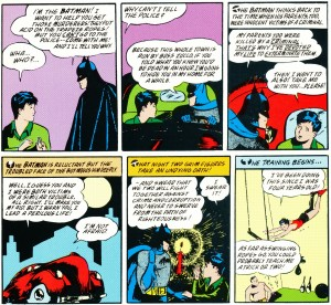 Dick Grayson meets Batman and his red sedan (Detective Comics #38)